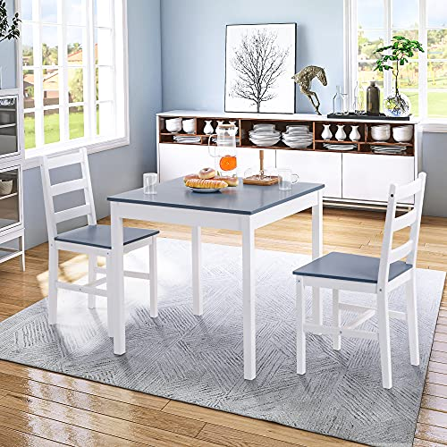 Pine Wood Dining Table and Chairs Set Kitchen Table Furniture Dining Set Solid Wooden Table & Metal Legs (1 Table with 2 Chairs), Grey