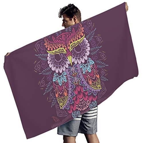 Perstonnoli Toalla de playa con diseño de búho, mandala, de microfibra, ligera, para playa, picnic, playa, yoga, toalla de viaje, rectangular, color blanco, 150 x 75 cm