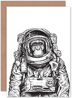Fine Art Prints Apa astronaut illustration gratulationskort med kuvert inuti premiumkvalitet
