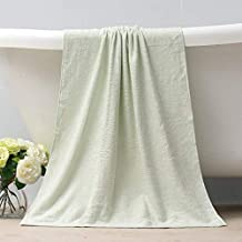 Bamboo Charcoal Bamboo Fiber Summer Thin Bath Towel Child Baby Soft Absorbent Baby Adult Towel,Light Green,138X68Cm