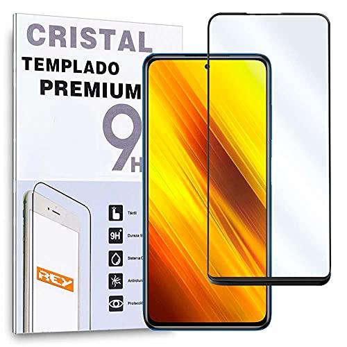 REY Protector de Pantalla Curvo para Poco X3 NFC - Poco X3 Pro, Negro, Cristal Vidrio Templado Premium, 3D / 4D / 5D, Anti Roturas