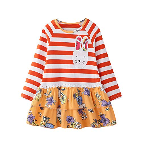 Girl Dresses Stripe Cute Bunny Applique A Line Floral Skirt Long Sleeve Cotton Casual Play All Day Dress