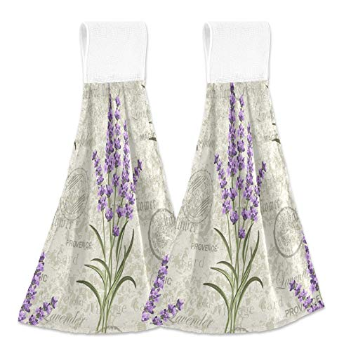 Boccsty Purple Lavender Hanging Kitchen Towels 2 Pieces Spring Sumer Flower Floral Dish Cloth Tie Towels Hand Towel Tea Bar Towels for Bathroom Farmhouse Housewarming Tabletop Home