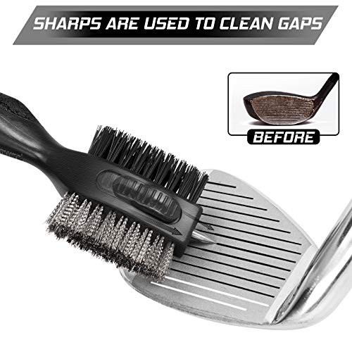 Golf Club Brush and Golf Club Groove Cleaner 2 in 1, 2ft Retractable Zip-line Metal Buckle and Retractable Sharp Pick, Multifunctional Brush Head with Nylon and Wire Bristles (Upgraded Version)