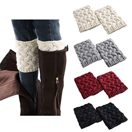 4 Pairs Short Women Crochet Boot Cuffs Winter Cable Knit Leg Warmers