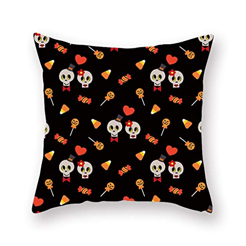 Iusun Happy Halloween Pumpkin Pillow Covers 17.72 x 17.72 Inches Fall Square Waist Throw Case Autumn Harvest Season Decor Sofa Home Decor Cushion Covers (C)