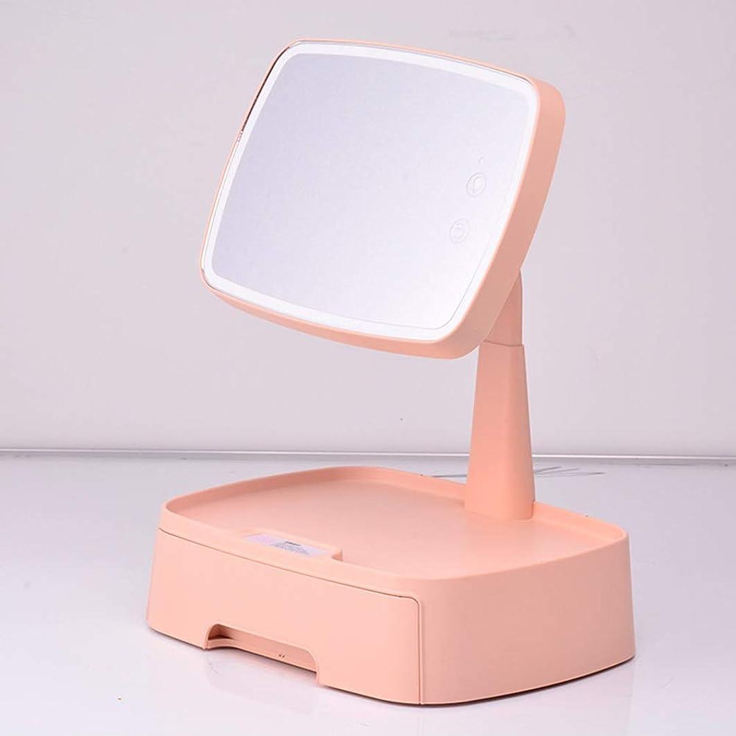 木曜日鎮痛剤レインコート誘導led化粧鏡収納ボックス付きデスクトップ多機能回転美容フィルライト化粧鏡テーブルランプ (Color : Pink)