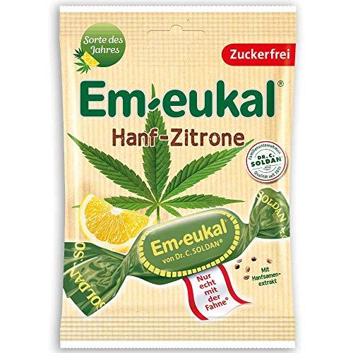 Em-eukal Bonbons Hanf-Zitrone zuckerfrei, 75 g