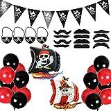 Oumezon Set de decoración para Fiesta de cumpleaños Infantil, diseño de Piratas, 39 Unidades, Color Rojo y Negro