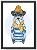 Fashion Animal Hipster Hund Kunstdruck Poster -ungerahmt-