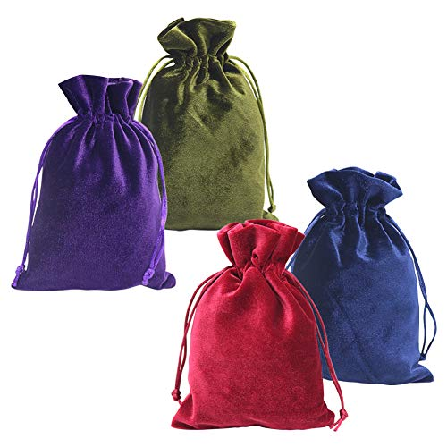 HRX Package Soft Velvet Gift Bags, 13x20 cm Velvet Drawstring Pouches for Tarot Rune Jewelry Crystal 4 Pack