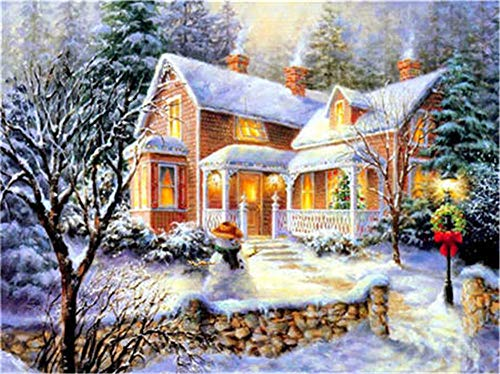 DIY 5D Diamond Painting Kits Full Drill,Crystal Rhinestone Cross Stitch Diamond Painting Adults/Kids Mosaic Pictures Embroidery Art Craft for Home Wall Decor(Snow House 25x30cm/10x12in Round Drill)