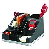 DEFLECT-O 35172 All-in-one caddy, black/silver, 8w x 9-1/4d x 5-1/4h