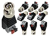 zdyCGTime BNC Video Baluns Adapter BNC Male Plug to 2 Pin/Way Screw Terminal Video Audio Spring Press Type Balun with Solderless Screw Terminal for Coax Cat5 to BNC CCTV Security Surveillance(10-pack)