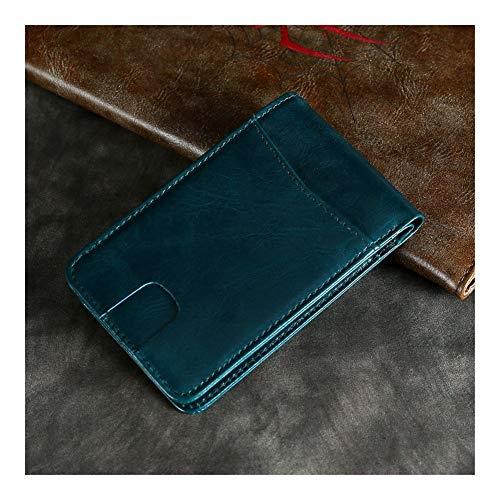 Geldbörse für Männer Herren Leder-beiläufige europäische und amerikanische Geldbörse Short Retro Leder Rfid Anti-Diebstahl-Schönheit Geldsack Geldschein-Clip Kartenetuis ( Color : Blue , Size : S )