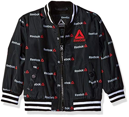 Reebok Boys' Big Active Varsity Jacket, Black/Infra Red, 14/16