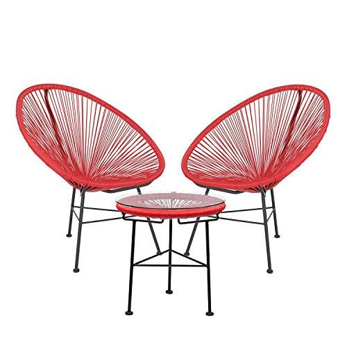SKLUM Pack 2 Stühle & 1 Tisch Acapulco Rot Amapola (mehr Farben)