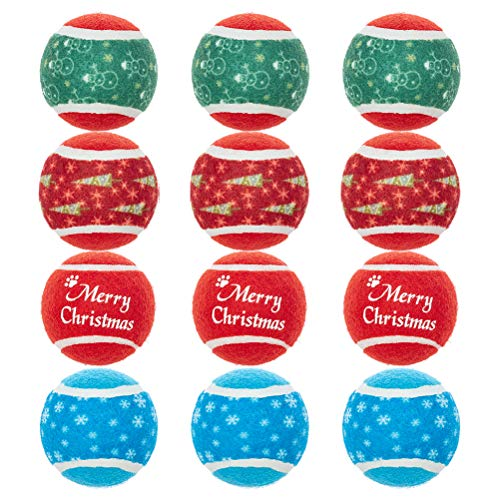Christmas Tennis Ball for Dogs - 12pcs Squeaky Toy Balls for Medium Small Dogs Training, 2.5 Inches, Ideal for Your Dogs