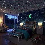 Hiveseen Stickers Muraux, 402 PCS étoiles lumineuses et autocollant de lune pour la décoration du salon de la chambre des enfants