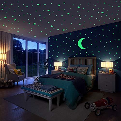 Hiveseen Leuchtsticker Wandtattoo, 402 PCS Leuchtende Sterne und Mondaufkleber ür Kinderzimmer Wohnzimmer Dekoration