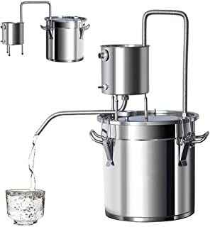 13Gal 50L Alcohol Distiller Moonshine Still Build-in Thermometer Still Kits Spirits Boiler Home Brewing Kit Stainless Steel (13Gal / 50L)