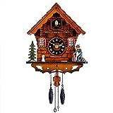 Kintrot Reloj de cuco Reloj tradicional de la casa de la Selva Negra Reloj de péndulo retro de madera antigua Decoración de pared