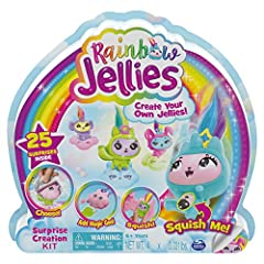 MAKE 4 SQUISHY CHARACTERS: The Surprise Creation Kit includes everything you need to make 4 of your very own custom-made Rainbow Jellies – glittery, squishy, totally adorable collectible characters! 25 SURPRISES INSIDE: Peel open the pods on the box ...