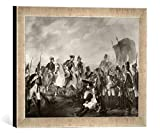 Gerahmtes Bild von Edward Francis Cunningham Friedrich der Große in der Schlacht bei Hochkirch, Kunstdruck im hochwertigen handgefertigten Bilder-Rahmen, 40x30 cm, Silber Raya