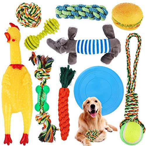 SaiXuan Juguetes para Perros,10PC Cuerda de Juguete para Masticar para Perros, Juguetes de dentición,Juguetes para Perros pequeños a medianos