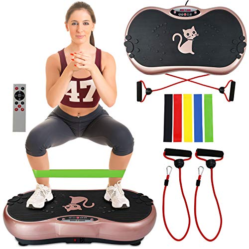 Ravs Vibration Plate Exercise Machine Whole Body Workout Machine Vibration Fitness Platform Machine Home Training Equipment with Resistance Bands, Remote Control and Max Load 330lbs by RAVS