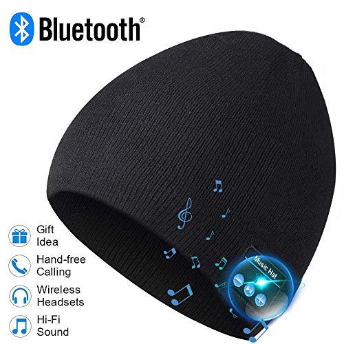 Berretto Bluetooth, Uomo Regali Bluetooth Cappello, Uomo Berretto Cappelli Bluetooth 5.0, Cuffie con MIC per Chiamate Vivavoce, Uomo Donna Regali, Elettronici Regali per Uomo, Moda Regali per Donne