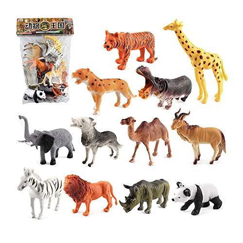 Sipobuy 12 Pezzi di plastica Simulazione Animali Selvatici Figure Modello Educativo Giocattolo cognizione, Bomboniere Regalo di Natale per Bambini