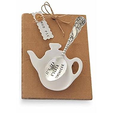 Mud Pie It's Tea O'clock Tea Pot and Spoon, Silver