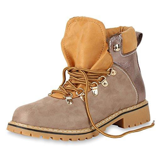 SCARPE VITA Damen Outdoor Worker Boots Metallic Stiefeletten Leicht Gefüttert 165704 Khaki 38