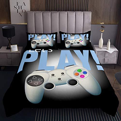 Loussiesd Jungen Spiele Bettüberwurf für Teenager Mädchen Weiß Gamepad Steppdecke Moderne Spielerkonsole Action Buttons Tagesdecke 240x260cm Mode Videospiele 3St