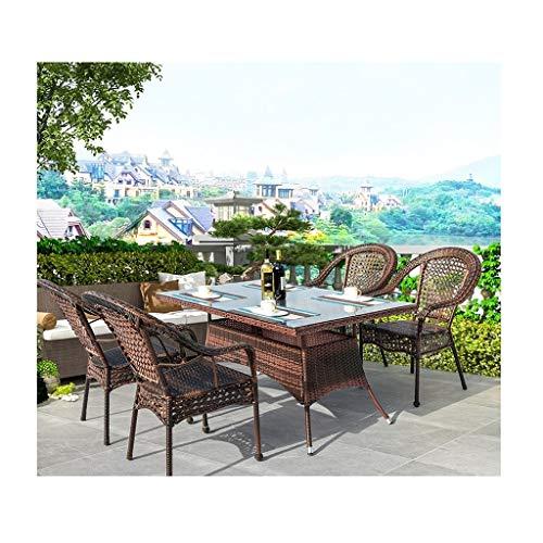 BDBT Rattan Muebles de jardín Juegos de Patio Mesa y sillas Conjuntos Familia del césped Muebles de Exterior for jardín al Aire Libre Junto a la Piscina