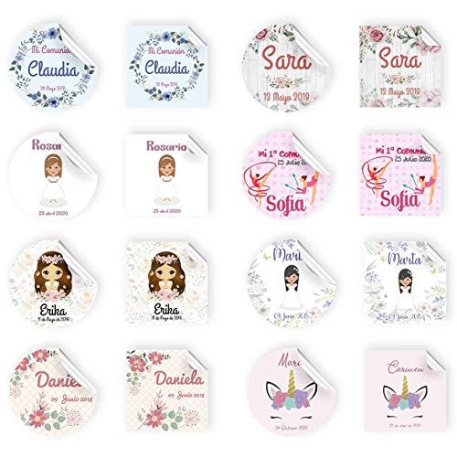 Etiquetas Personalizadas para Comunión de Niña de 5cm Adhesivas o Cartulina con Cordón