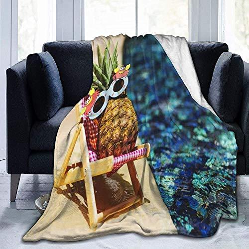 Manta de franela de piña fresca en la piscina, súper suave, manta de sherpa de alta calidad, duradera, térmica, cómoda, cómoda y acogedora, para oficina, hogar, cama, 122 x 101 cm
