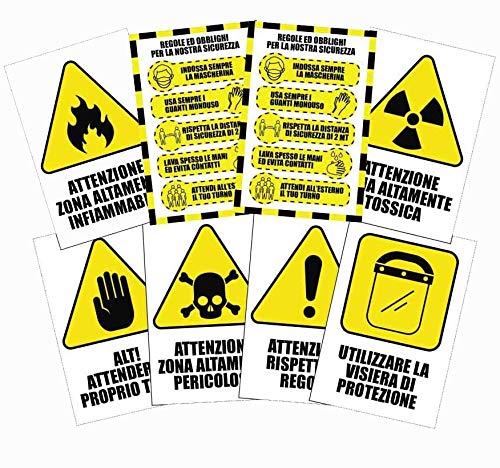 Pack di 8 cartelli adesivi'covid security' - regole di sicurezza per cantieri - dimensione 13,5 x 20 cm (Carta patinata)