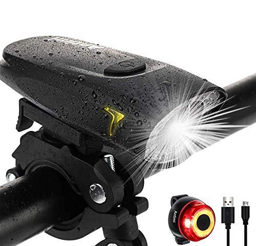 Antimi Fahrradlicht Led Set 2 Licht-Modi, Fahrradlichter Fahrradlampe Zugelassen Fahrradbeleuchtung LED Wasserdicht USB Aufladbar Fahrrad Licht