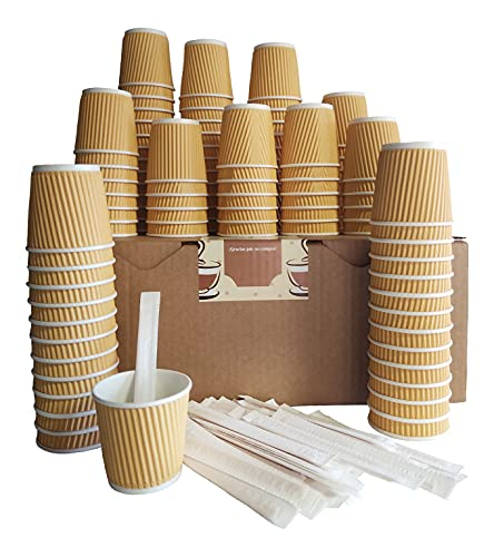 LorelDecor Kit 100 Vasos Café Expreso Desechables de Cartón Kraft Corrugado Doble Pared 120ml 4oz con Agitadores de Madera