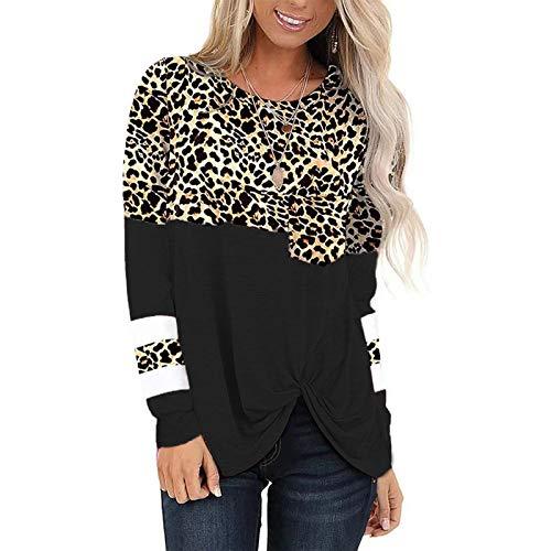 Camiseta de Manga Larga Linda para Mujer Sudadera de Cuello Redondo con Costuras de Leopardo Superior Superior...