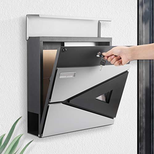 BONADE Briefkasten mit Zeitungsfach Wandbriefkasten Anthrazit Briefkasten A4 Größe 1 Dreieckig Klarsichtfenster + Namensschild+ 2 Schlüsseln Abschließbar Wandbriefkasten