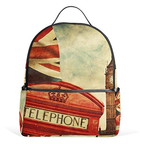 COOSUN Union Jack-Flaggen-Schule-Rucksack Leichte Canvas-Buch-Tasche für Junge Mädchen Kinder Mehrfarbig