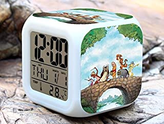 Cartoon Winnie The Pooh Digital LED 7 Changed Colorful Light Alarm Clocks Thermometer Night Electronic Kids Toys Best Gift for Children (Style 18)