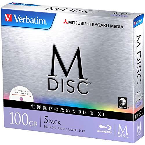Verbatim M-Disc Blu-ray, 1.000 Jahre archivierbar, BDXL, 100 GB, Triple Layer, 4x-Geschwindigkeit, 5er-Packung, mit Tintenstrahldrucker bedruckbar