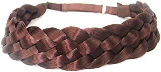 DIGUAN 5 Strands Synthetic Hair Braided Headband Classic Chunky Wide Plaited Braids Elastic Stretch Hairpiece Women Girl Beauty accessory, 56g (Burgundy)