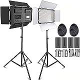LEDビデオ照明ライトキット SAMTIAN 2パック600AS二色3200K-5600K色温度と調光可能 LCDディスプレイと遮光板付き CRI 96+ 二つリモコン、四つ電池、二つ充電器、二つ電源アダプターとキャリングケース付属 スタジオ撮影、YouTube、生放送、商品撮影、写真ビデオ撮影に適用