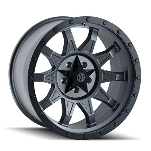 Dirty Life ROADKILL Matte Gunmetal/Black Beadlock Wheel with Painted Finish (20 x 9. inches /8 x 165 mm, 18 mm Offset)