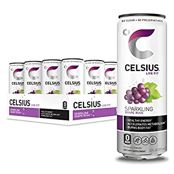 CELSIUS Sparkling Grape Rush Fitness Drink Zero Sugar 12oz Slim Can  Pack of 12